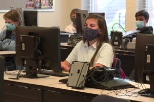 Children wear masks during in-person learning