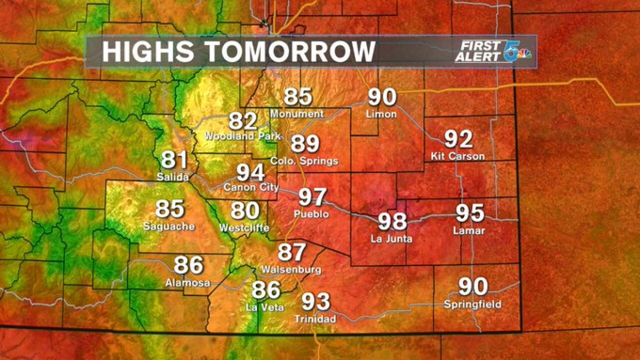 High temperature forecast for July 11,