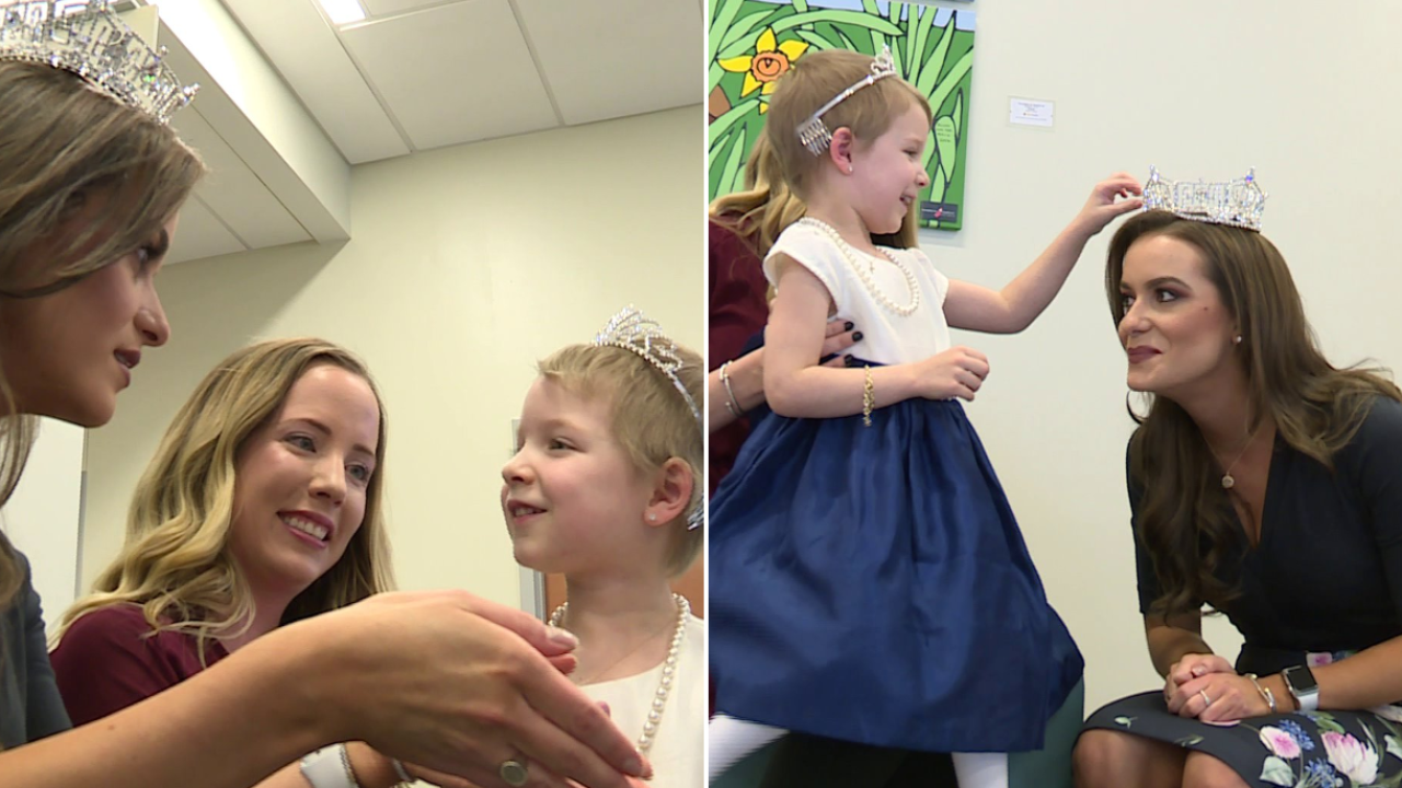 WATCH: 4-year-old cancer survivor who went through chemo in a tiara meets Miss America