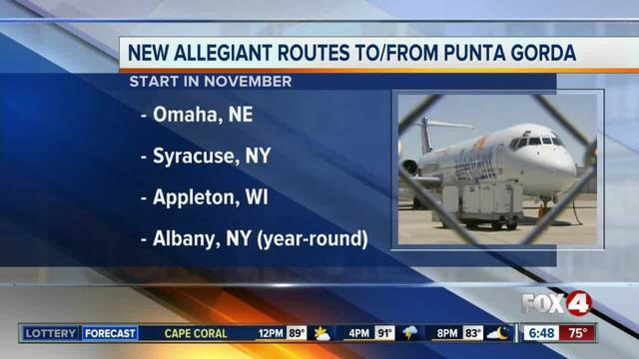 Allegiant Air is adding new Punta Gorda routes