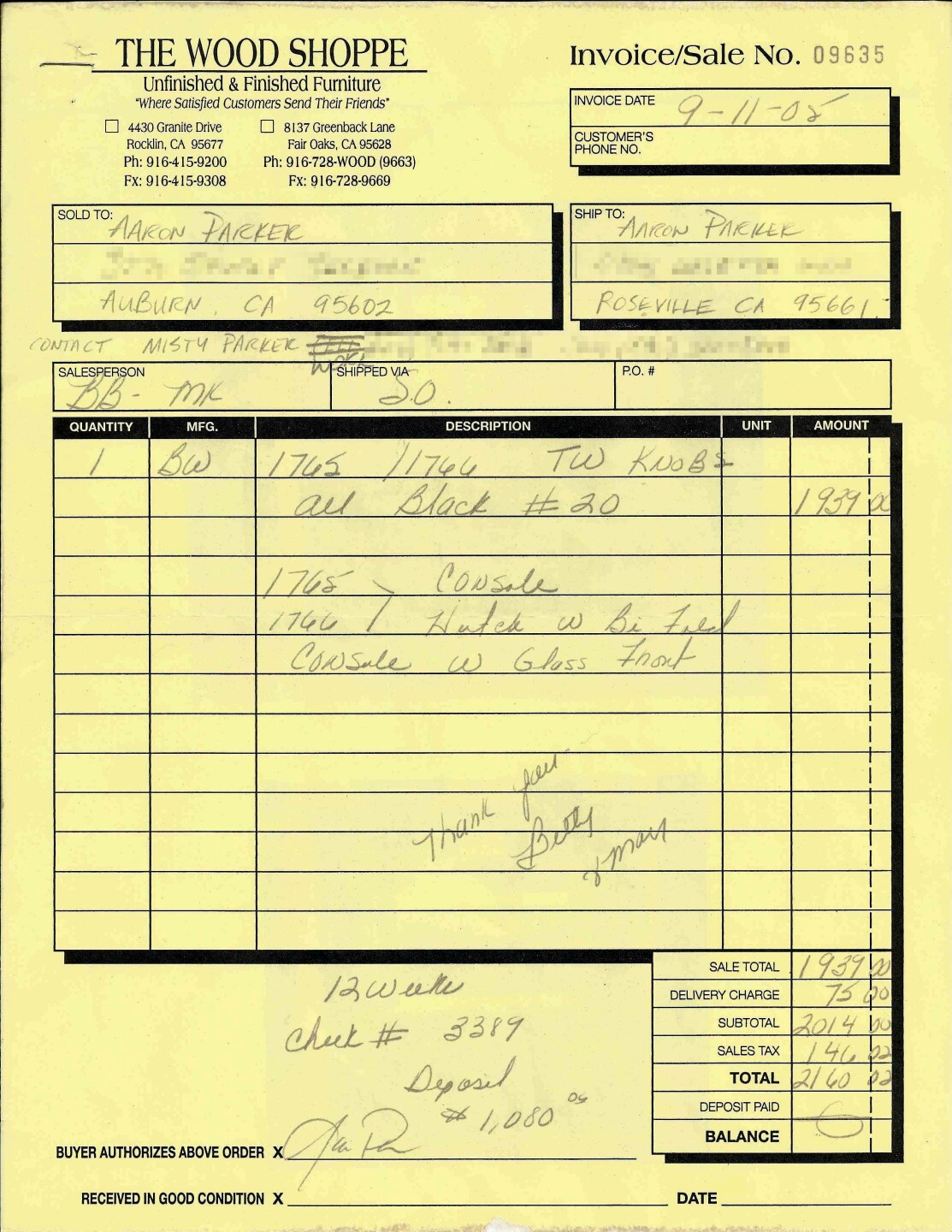 Parker's receipt from The Wood Shoppe in Sacramento area shows he put a $1,080 deposit down on a hutch and console.