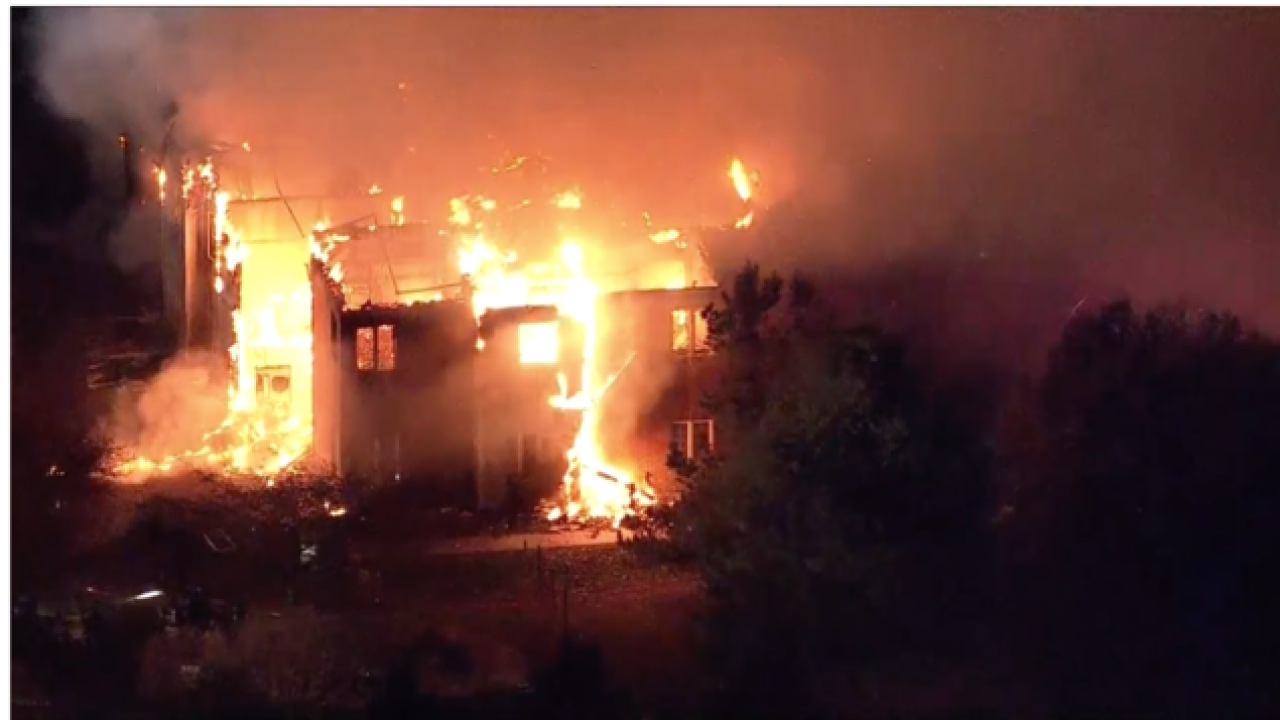 Firefighters battling a three-alarm fire at a nursing home in West Chester, Pennsylvania