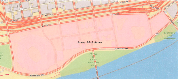 The 85 acres highlighted on the map will become a designated outdoor refreshment area on March 25, 2021.