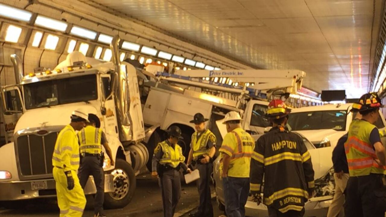 Eastbound lanes of HRBT reopen after crash involving tractor trailer carrying hot tar