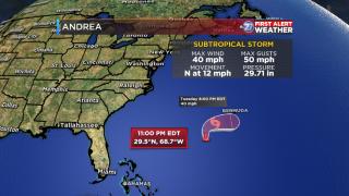 Subtropical Storm Andrea forecast track (11pm 05/20/2019)
