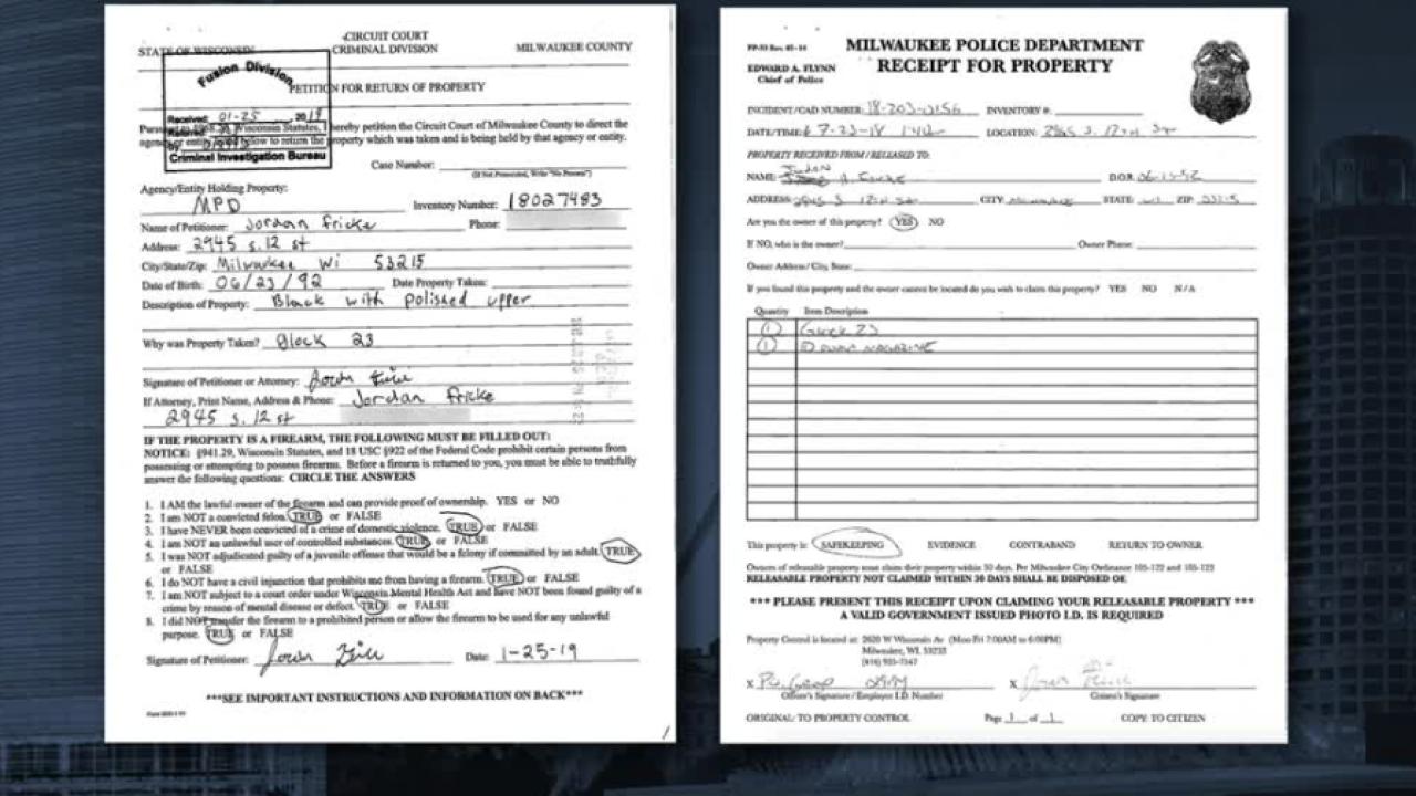 Jordan Fricke court documents about gun