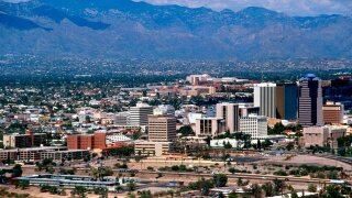 A view of the skyline in Tucson, Arizona.