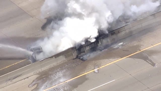 Photo gallery: Massive semi fire closes westbound I-696 at Woodward