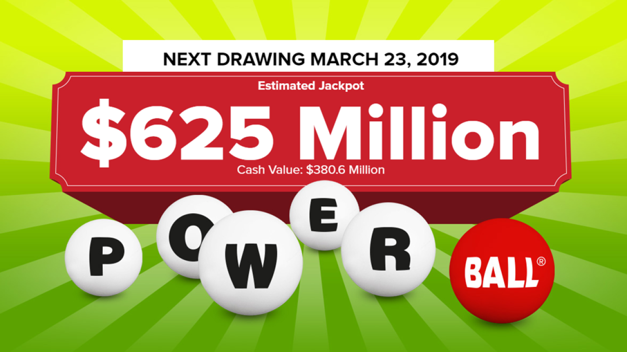 Powerball Lottery Drawing For March 20 2019 No Winning Tickets Sold Jackpot Now 625 Million