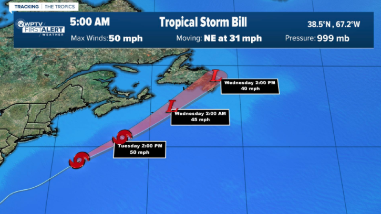Tropical Storm Bill track 5 a.m. June 15, 2021