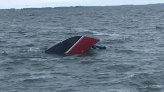 Capsized sailboat