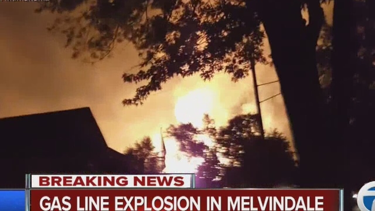 Gas line explodes in Melvindale, homes evacuated