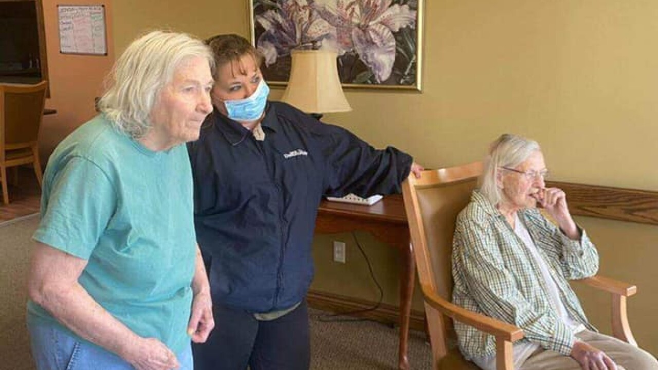 Stark County Sheriff's Office bring their K-9s to visit the Allay Senior Care Center.