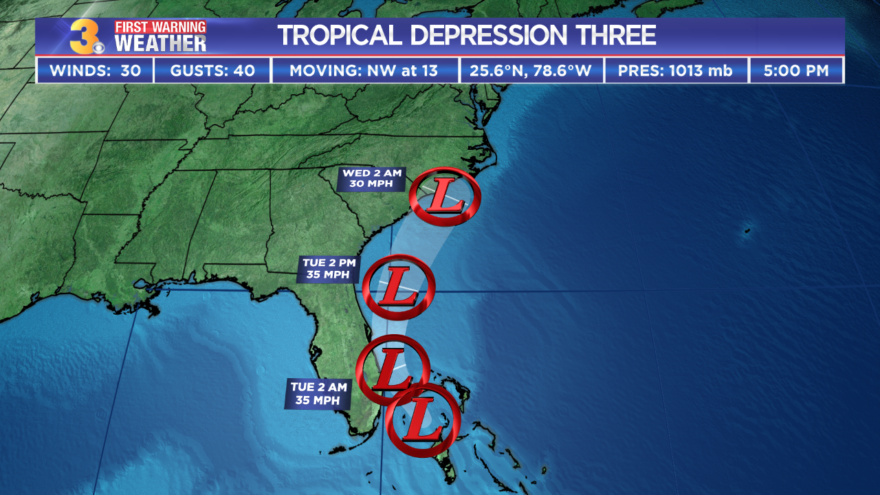 Tropical Depression Three forms in the Bahamas
