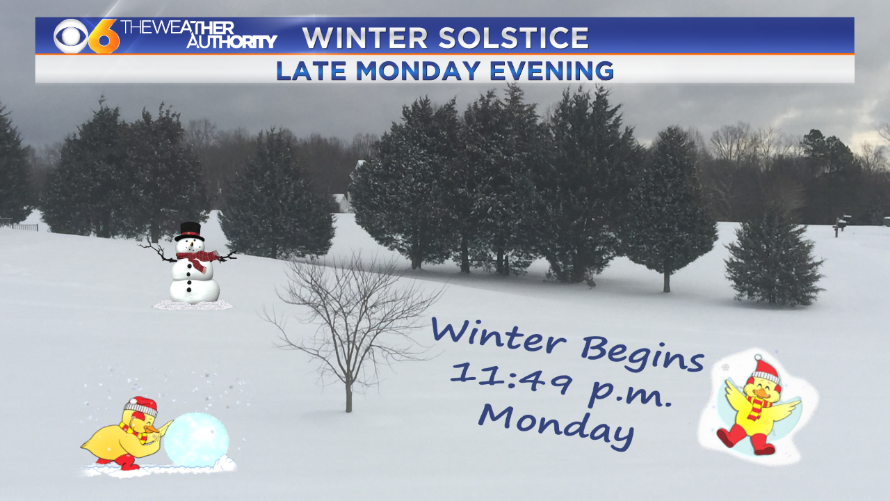 Winter officially begins Monday evening