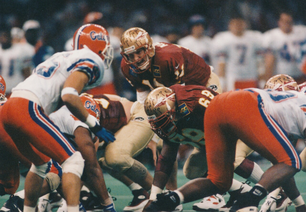 Florida State Seminoles QB Danny Kanell lines up under center vs. Florida Gators