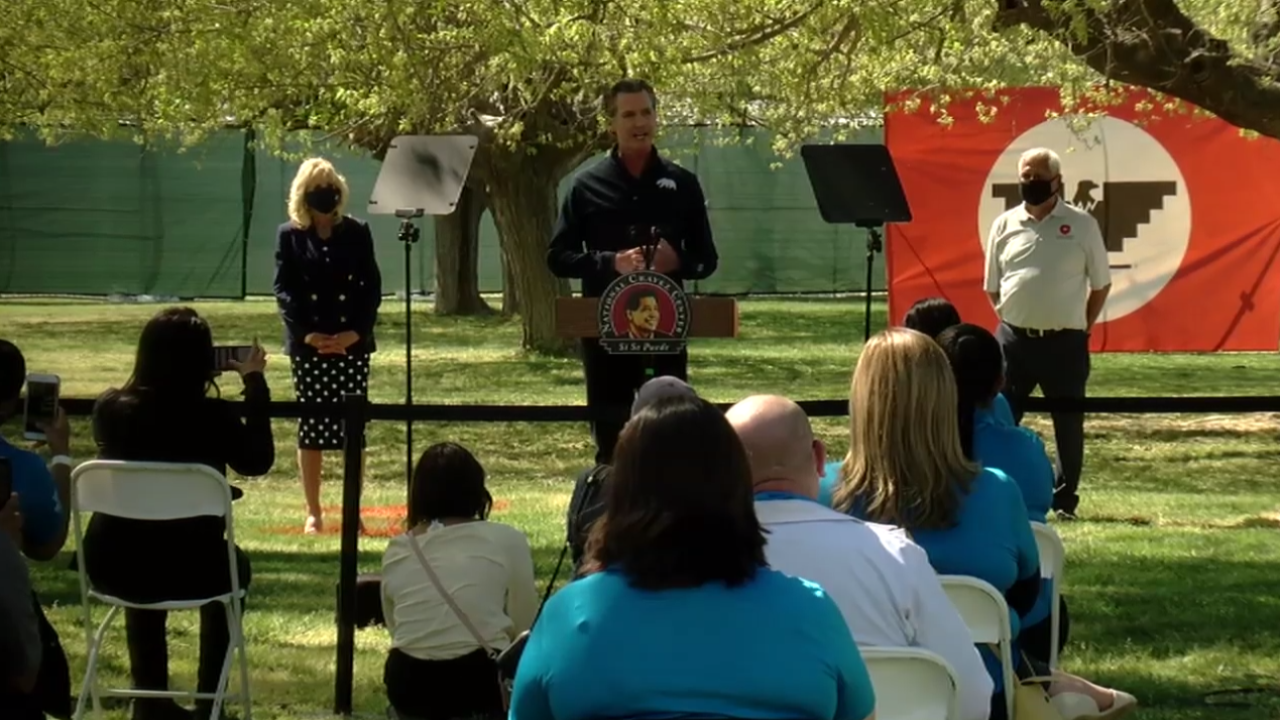 Gavin Newsom During First Lady Dr. Jill Biden's visit to Delano on Ceasar Chavez Day. March 31, 2021.