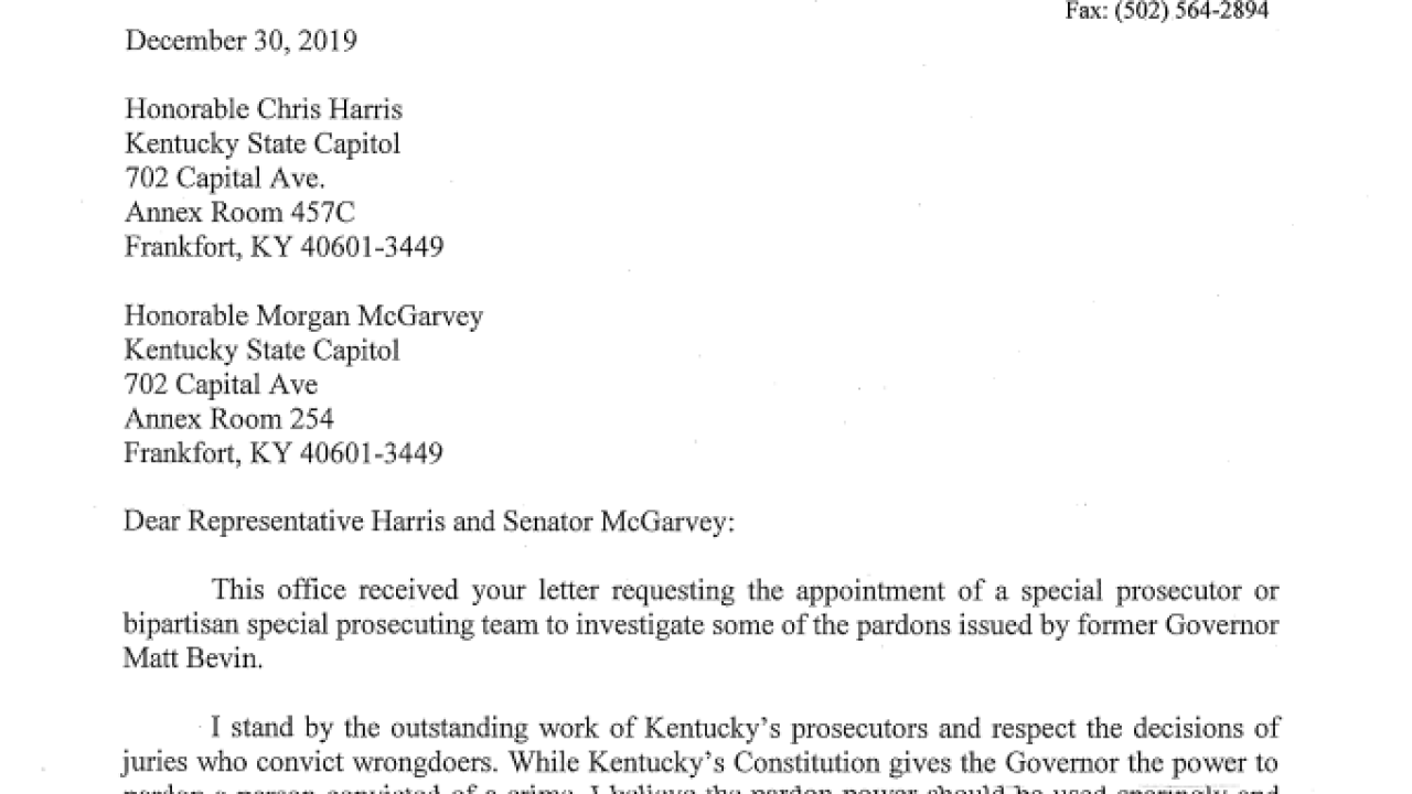 Attorney General Daniel Cameron made formal request for investigation against Bevin