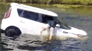 VIDEO: Woman rescued after car plunges into Florida canal
