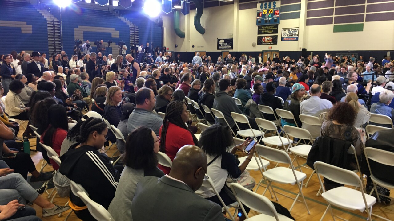 Presidential hopeful California Senator Kamala Harris spoke to a crowd of potential voters at Canyon Springs High School, Friday