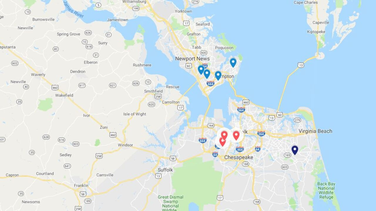 Map: 2019 homicides in Hampton Roads, surrounding areas