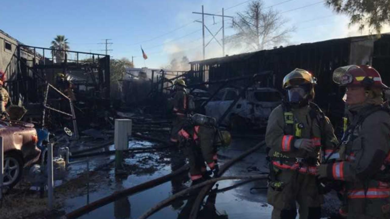 Firefighters battle east Vegas mobile home fire