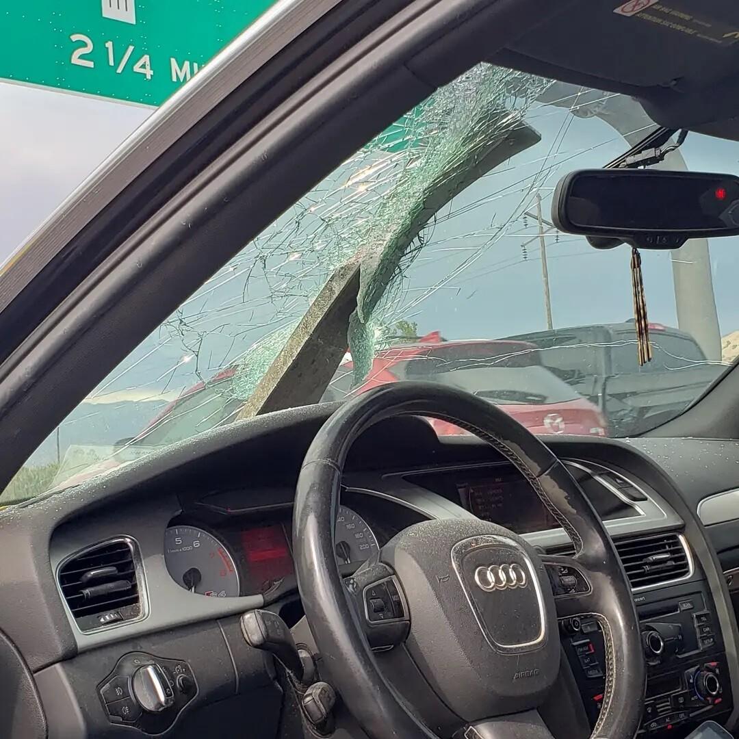 Debris smashes through windshield on Utah road