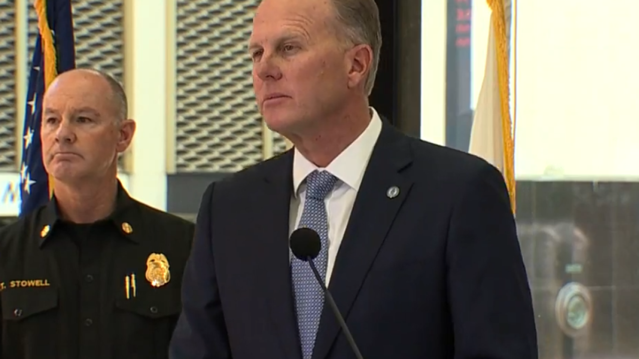 Mayor Kevin Faulconer speaks at news conference