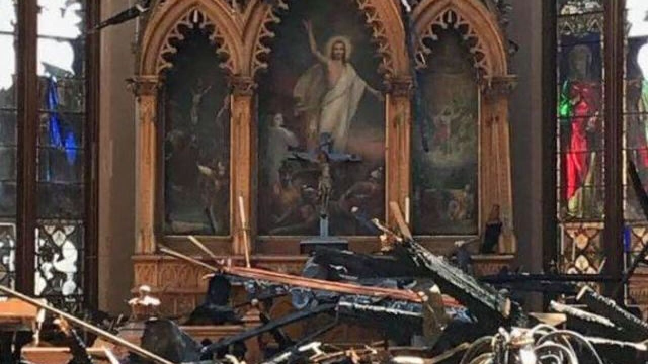 Photo shows fire damage inside Trinity Church
