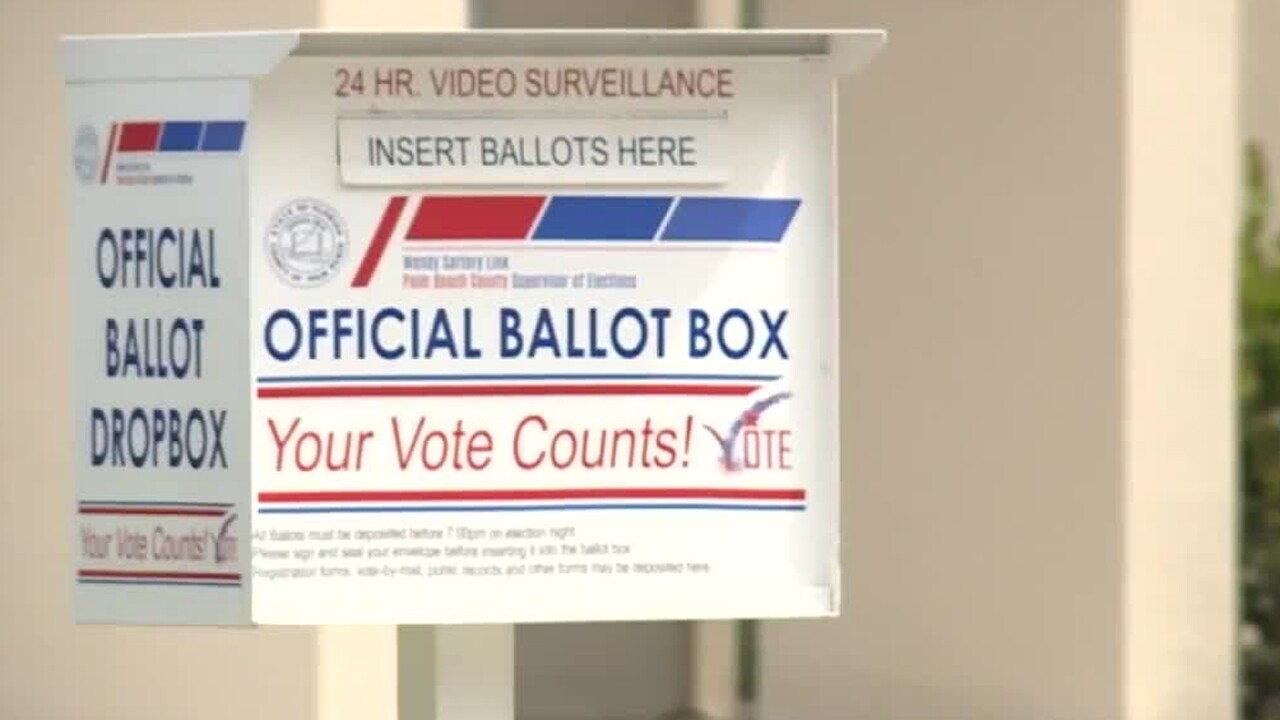 A ballot drop-off box is located outside the Palm Beach County Supervisor of Elections Office on Military Trail.