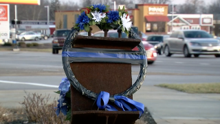 Wreath honoring Colerain officer Dale Woods