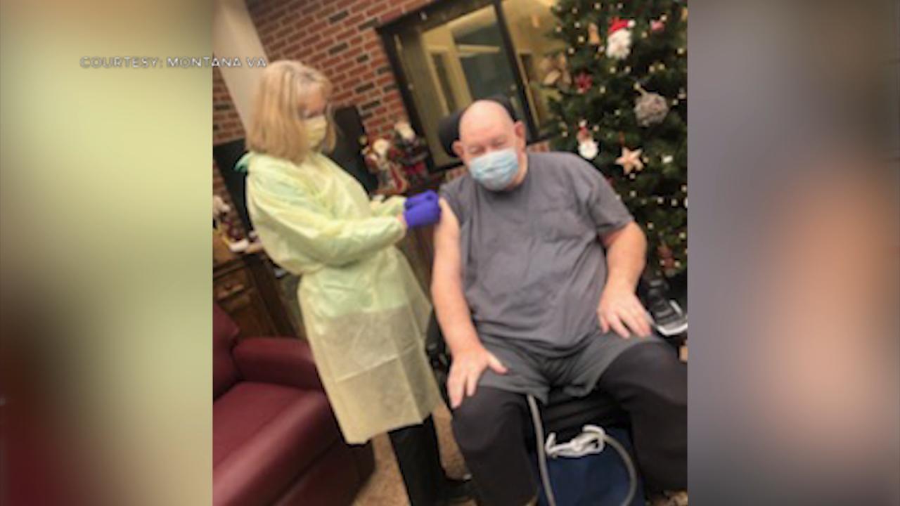 Jim Morton receives Moderna vaccine at Montana VA's Miles City Community Living Center