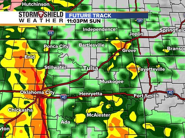 TIMELINE: Rain, thunderstorms to move into Oklahoma overnight Sunday into Monday