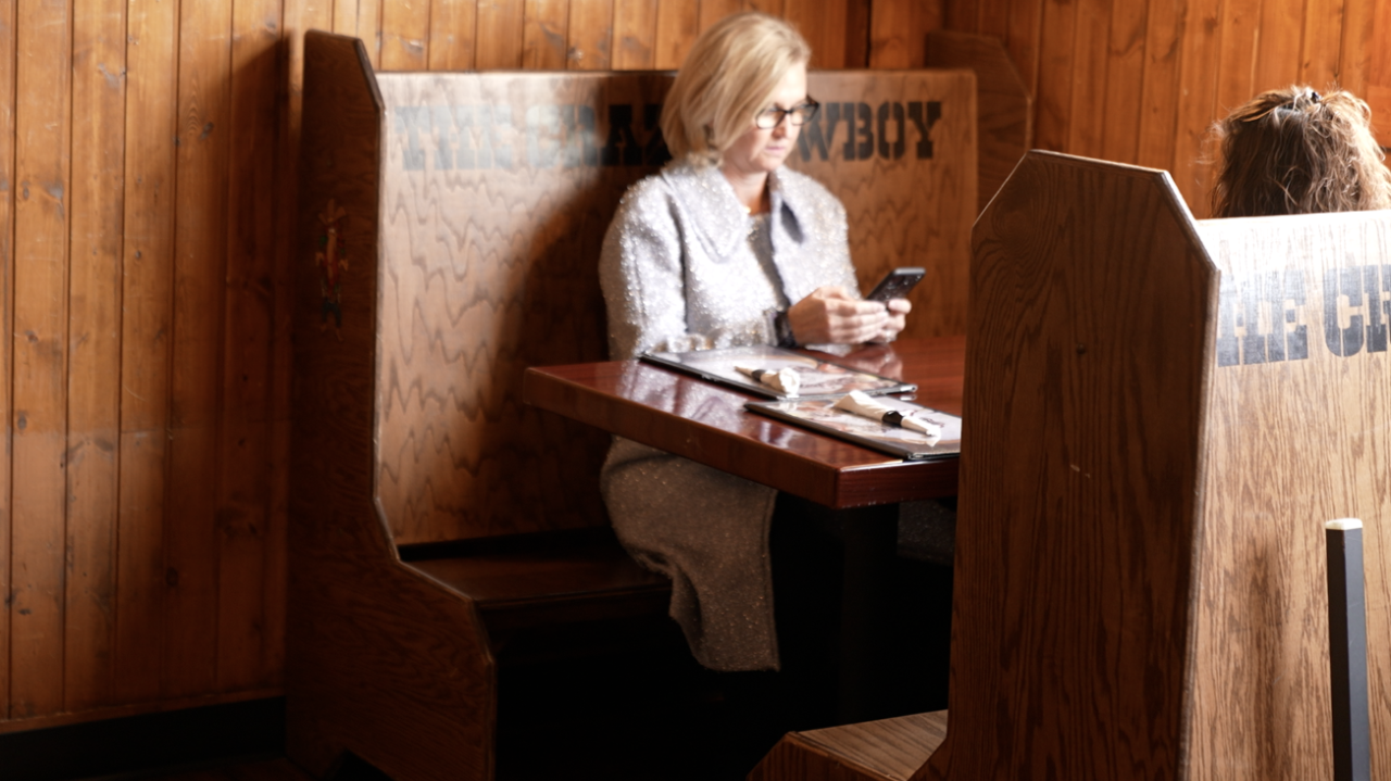 Customers dine-in at The Crazy Cowboy