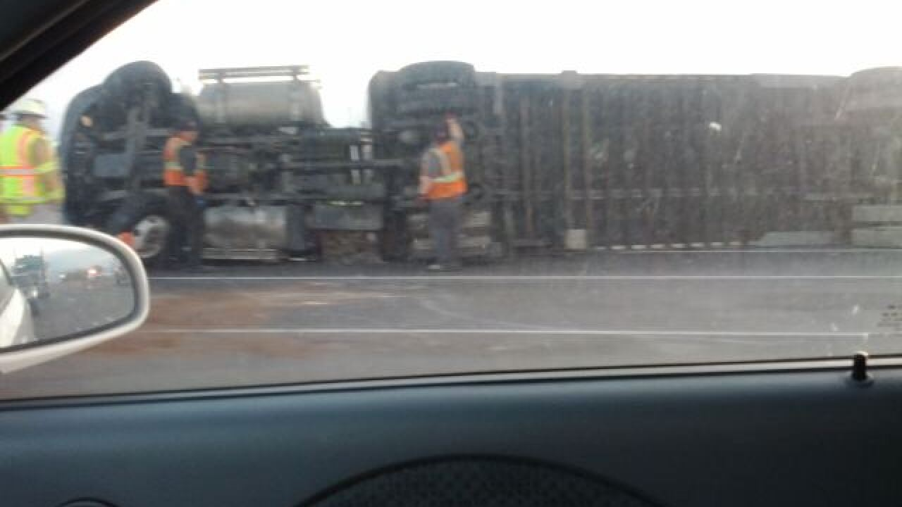 Semi rollover blocks traffic in Lehi