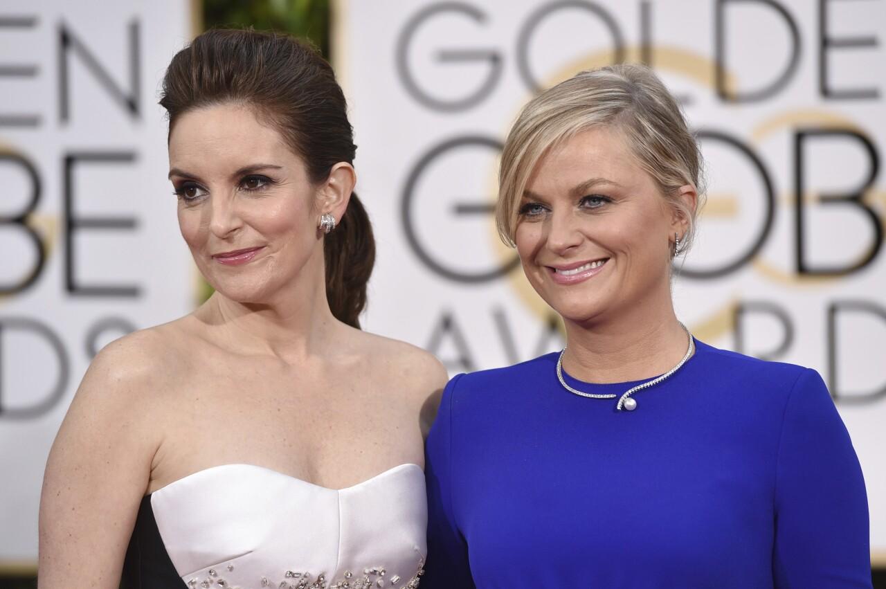 Tina Fey and Amy Poehler at 2015 Golden Globe Awards