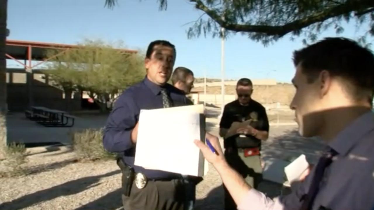 KNXV Glendale PD no-camera briefing confrontation