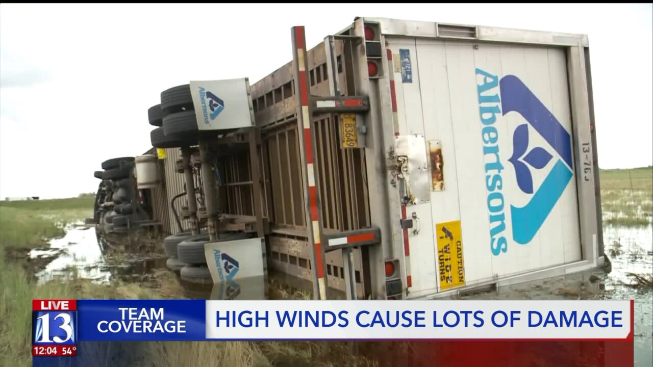 High winds topple trees, trucks in northern Utah