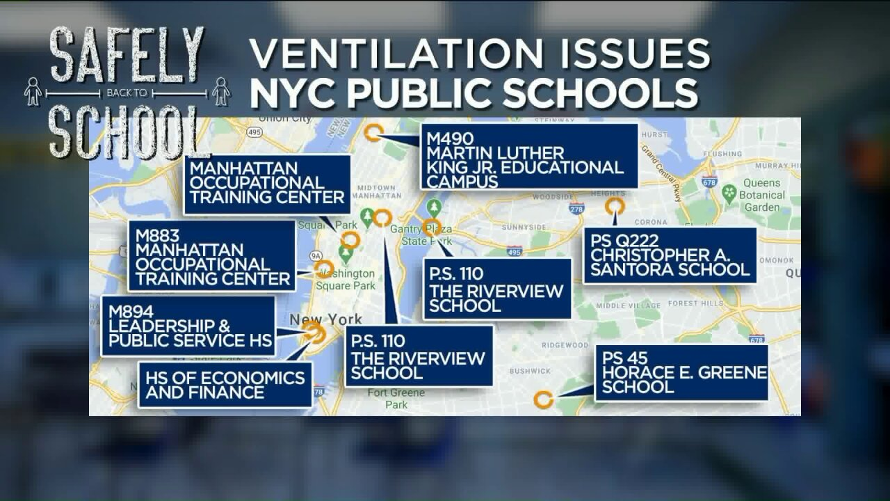 NYC public schools with ventilation issues