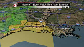 Severe Thunderstorm Watch posted for all of Acadiana Through 10 am Saturday