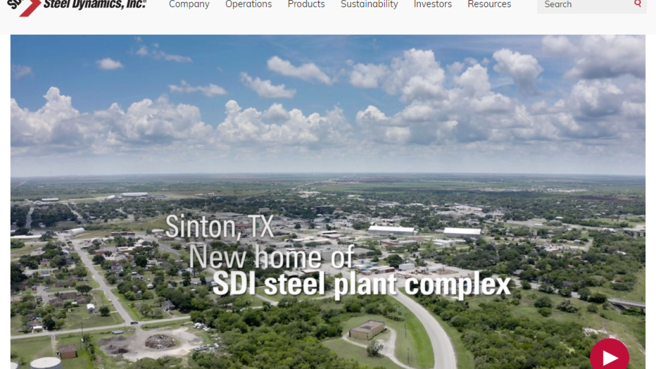 Steel Dynamics website homepage announcing Sinton mill