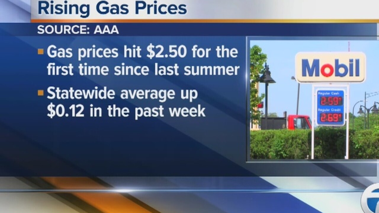Michgian gas prices on the rise