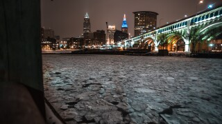 Downtown Cleveland covered in ice.