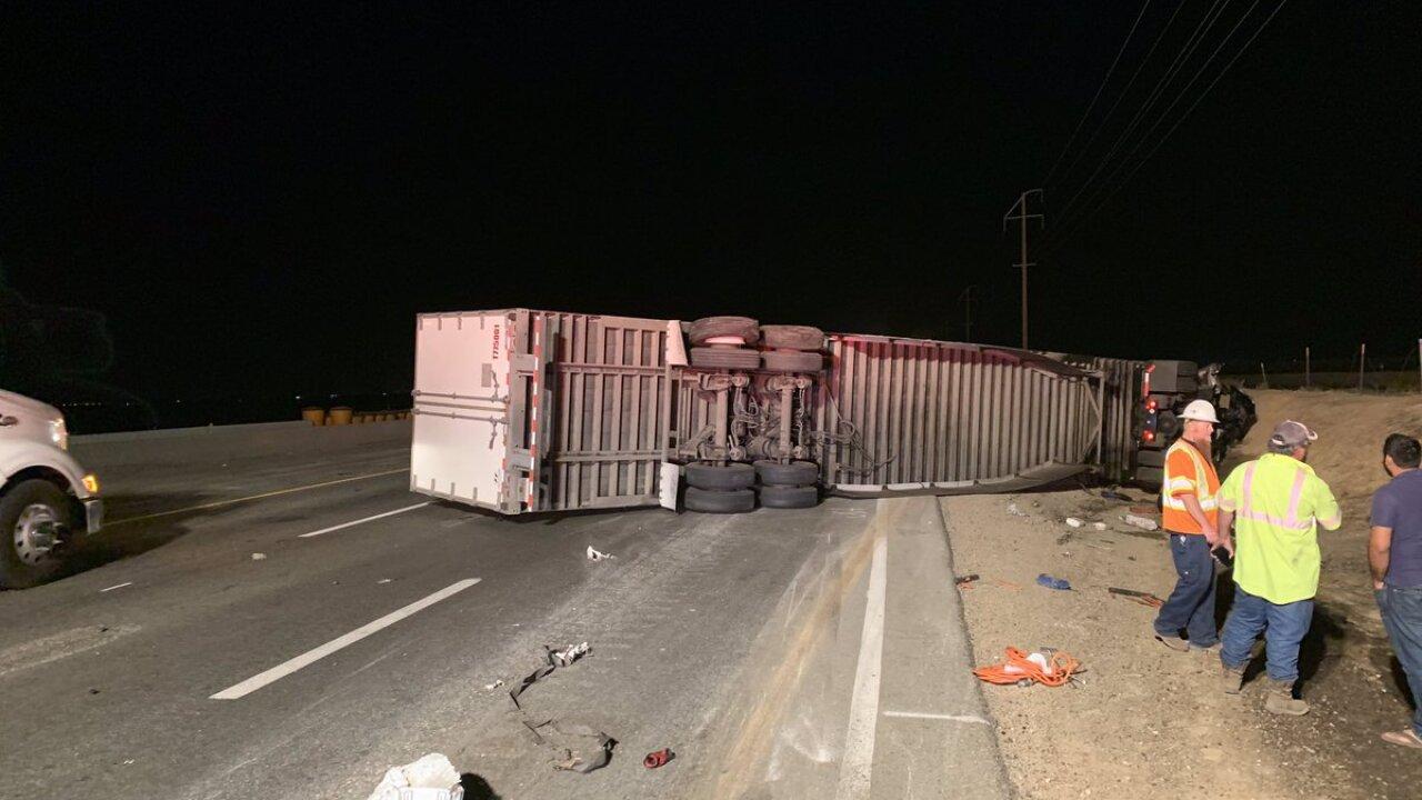 Overturned big rig impacting Northbound 99 traffic