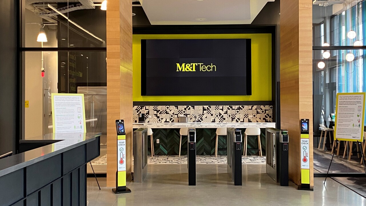 Entryway to the new $58 million M&T Bank Tech Hub at Seneca One