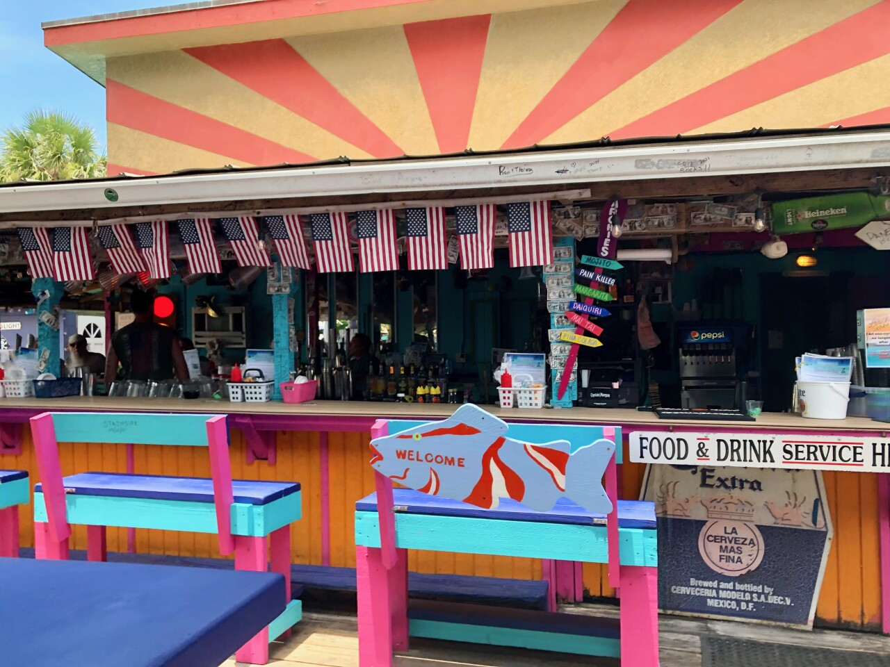 American flags line the bar.