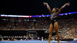 WATCH: Simon Biles lands historic triple-double, wins sixth national all-around title