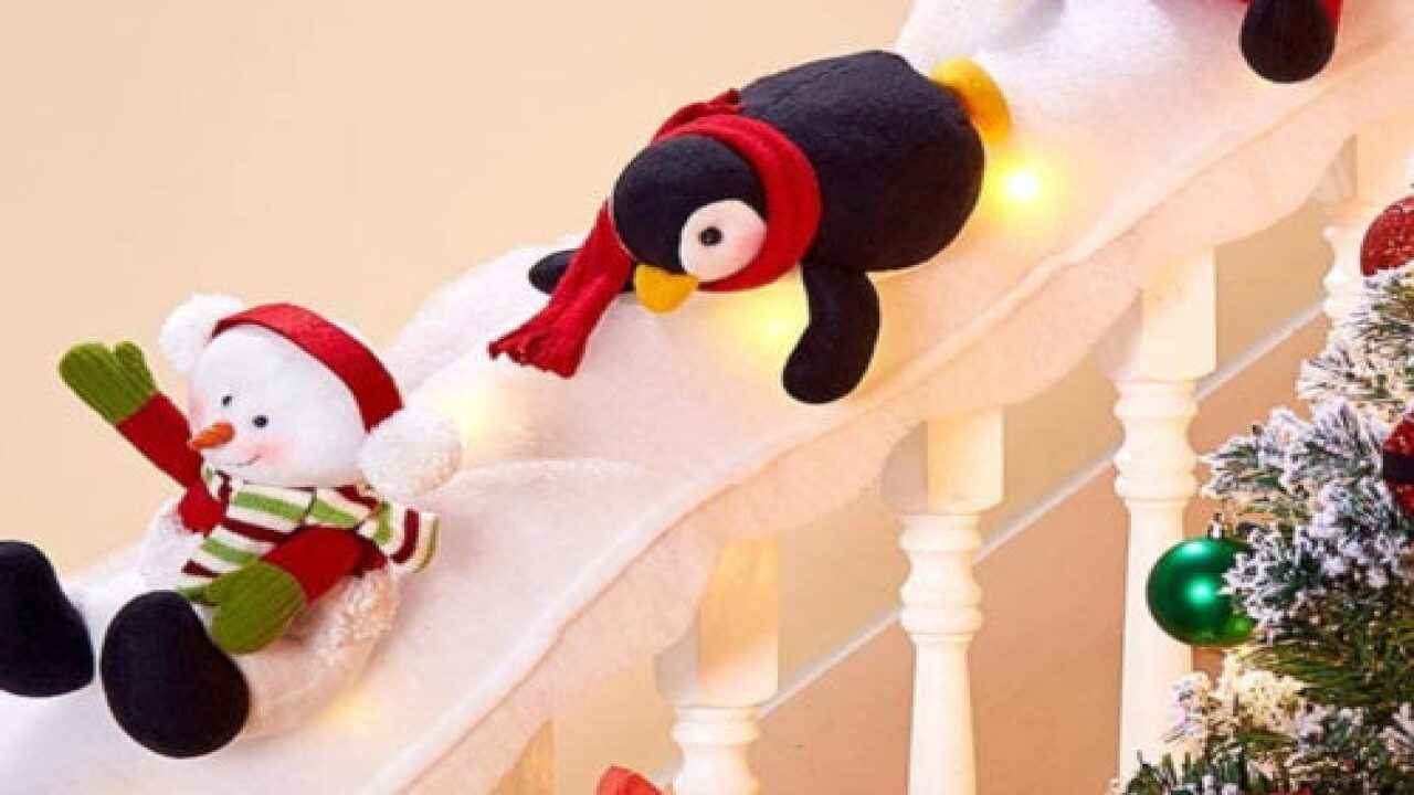 Skip Garland This Year And Turn Your Staircase Into A Snowy Penguin Slide