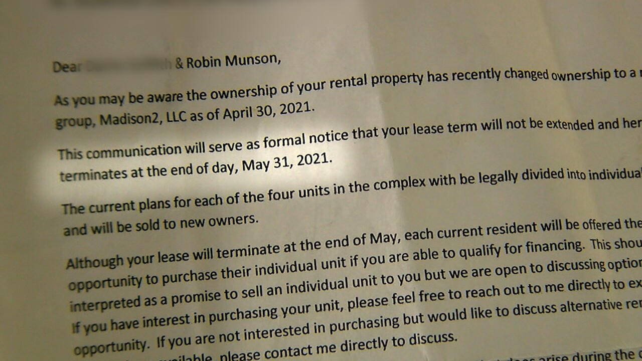Note posted on Rob's front door