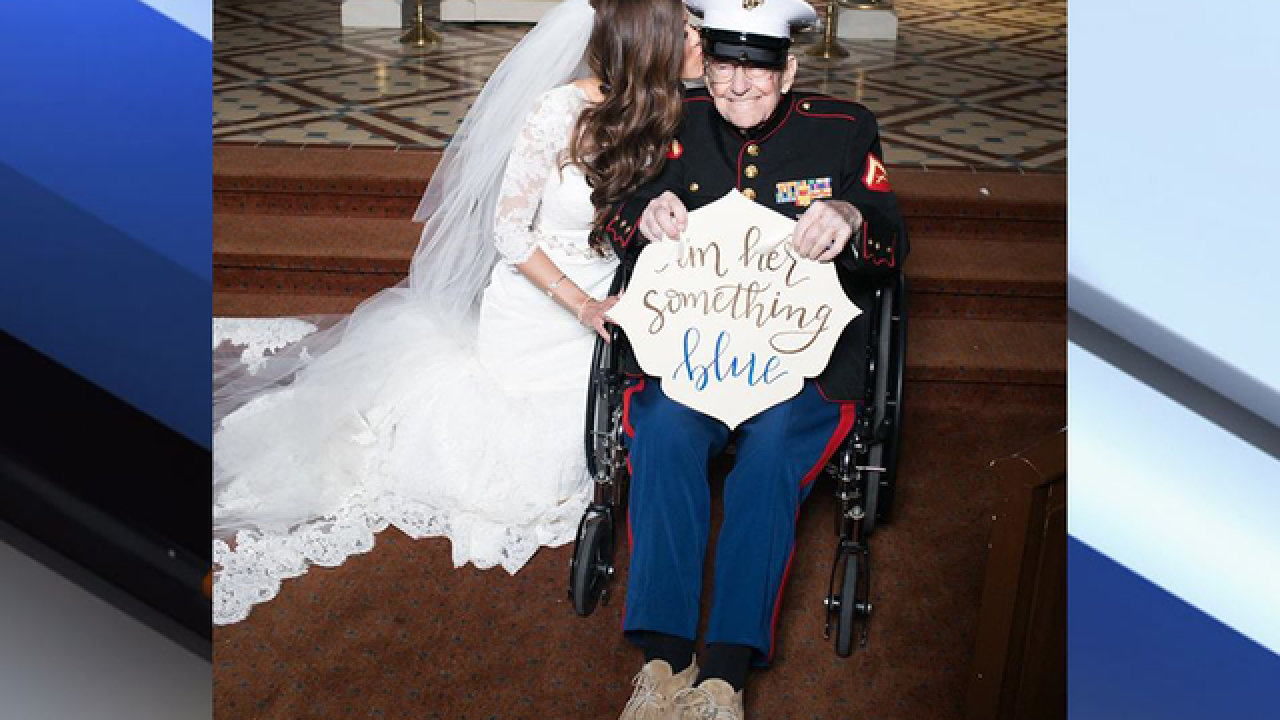 Bride's 92-year-old uncle her 'something blue'